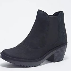 FLY London Black Leather Ankle Boot Booties 39/8.5